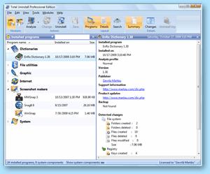 Total Uninstall - installed program summary