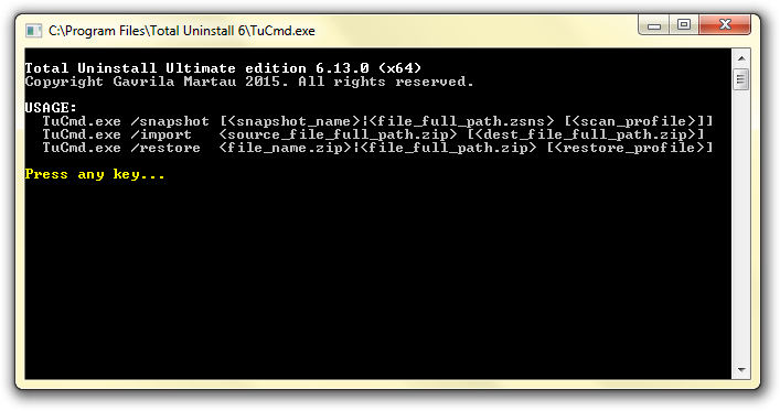 Total Uninstall command-line program options